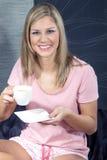 Beautiful woman drinking tea Stock Photo