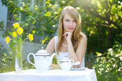 Beautiful woman drinking tea Royalty Free Stock Image