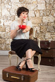 Beautiful woman drinking tea Royalty Free Stock Image