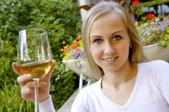 Beautiful woman drinking wine. Royalty Free Stock Photo