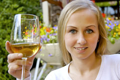 Beautiful woman drinking wine. Stock Image