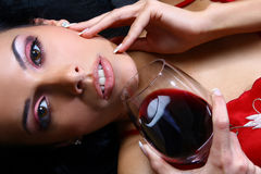 Beautiful woman drinking wine Stock Photo