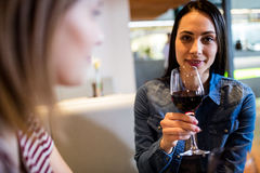 Beautiful woman drinking wine with friend. Portrait of beautiful women drinking wine with friend at bar Stock Photo