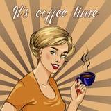 Beautiful woman drinks coffee vector illustration in retro comic pop art style. Stock Photography