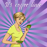 Beautiful woman drinks coffee vector illustration in retro comic pop art style. Royalty Free Stock Photos