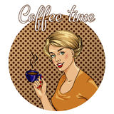 Beautiful woman drinks coffee vector illustration in retro comic pop art style. Royalty Free Stock Photos