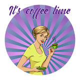 Beautiful woman drinks coffee vector illustration in retro comic pop art style. Royalty Free Stock Photography