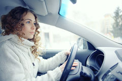 Beautiful woman driving car Stock Photos