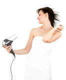 Beautiful woman drying her hair by dryer. Human fashion - beautiful woman drying her hair by dryer, white background Stock Photo