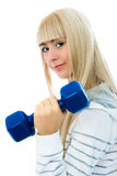 Beautiful woman with dumbbells Stock Photography