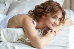 A beautiful woman early mornig royalty free stock photo