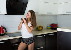 Beautiful woman early in the morning Royalty Free Stock Photography