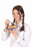 Beautiful Woman Eating Piece Of Cake Stock Photography