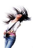 Beautiful woman with electro guitar royalty free stock photo