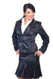 Beautiful woman in elegant black suit Royalty Free Stock Photos