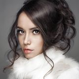 Beautiful woman with elegant hairstyle in white fur coat Stock Photography