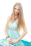Beautiful woman with elegant sundress. Beautiful woman with elegant blue sundress over white. Fashion photo Royalty Free Stock Images