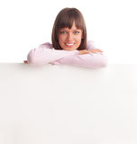 Beautiful woman with empty blank Stock Images