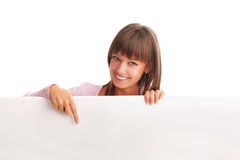 Beautiful woman with empty blank Stock Image