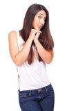 Beautiful woman with endearing expression. Young beautiful woman with endearing expression Stock Photos