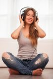 Beautiful woman enjoy music in headphones Stock Image