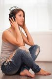 Beautiful woman enjoy music in headphones Stock Photo