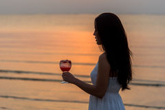 Beautiful woman enjoy and relax with holding cocktail Royalty Free Stock Image