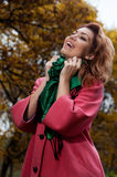 Beautiful woman enjoy walking in autumn Park Royalty Free Stock Images