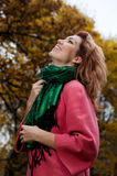 Beautiful woman enjoy walking in autumn Park Royalty Free Stock Photography