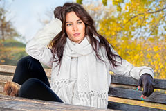 Beautiful woman enjoying in the autumn  park Stock Photography