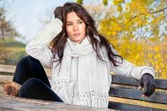 Beautiful woman enjoying in the autumn  park Stock Photography