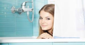 Beautiful woman enjoying bath at home Royalty Free Stock Image