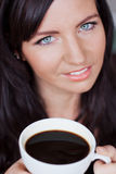 Beautiful woman enjoying cup of coffee Royalty Free Stock Photography