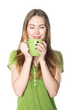 Beautiful woman enjoying cup of coffee isolated on white Stock Image