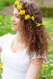 Beautiful woman enjoying daisy field Royalty Free Stock Images