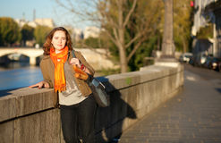 Beautiful woman enjoying early morning in Paris Stock Images