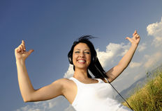 Beautiful woman Enjoying Music Royalty Free Stock Photos