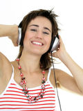 Beautiful Woman Enjoying Music Royalty Free Stock Images