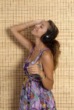 Beautiful woman enjoying music Royalty Free Stock Image