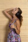 Beautiful woman enjoying music Royalty Free Stock Image
