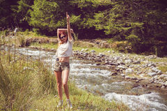 Beautiful woman enjoying nature in forest green Royalty Free Stock Photos