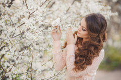 Beautiful woman enjoying outdoors, nice female. Royalty Free Stock Photography