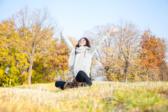 Beautiful woman enjoying in the  park Royalty Free Stock Image