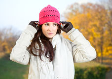 Beautiful woman enjoying in the  park Stock Photos