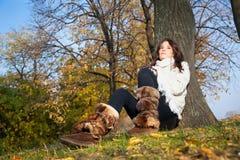 Beautiful woman enjoying in the  park Stock Photo
