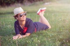 Beautiful woman enjoying in the park Royalty Free Stock Photos