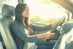 Beautiful woman enjoying the road trip Royalty Free Stock Photo