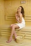 Beautiful Woman Enjoying Sauna Stock Photo