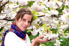 A Beautiful Woman enjoying the serenity of Spring Royalty Free Stock Images