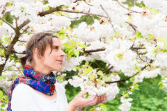 A Beautiful Woman enjoying the serenity of Spring Royalty Free Stock Photos